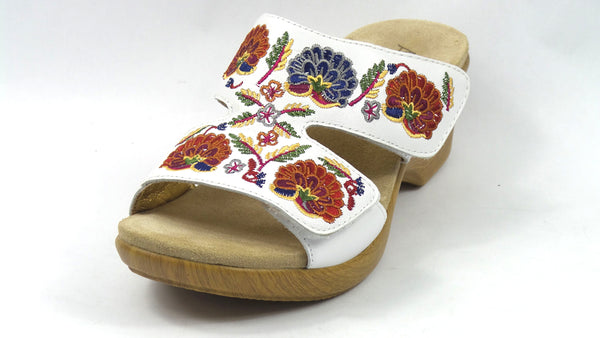 Alegria Embroidered Leather Slip-on Wedge Sandals Linn White Multi - NEW