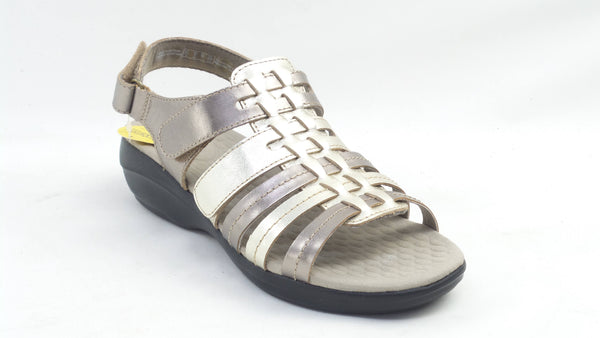 Clarks Collection Alexis Blossom Leather Sandal Metallic Combi - NEW