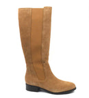 H by Halston Gored Tall Shaft Boots Naomi Camel Suede - NEW