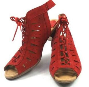 Earth Nubuck Leather Lace-Up Sandals Kristen Red - NEW