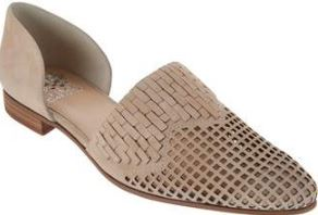 Vince Camuto Suede or Leather Perforated Flats Reshila Buff - NEW