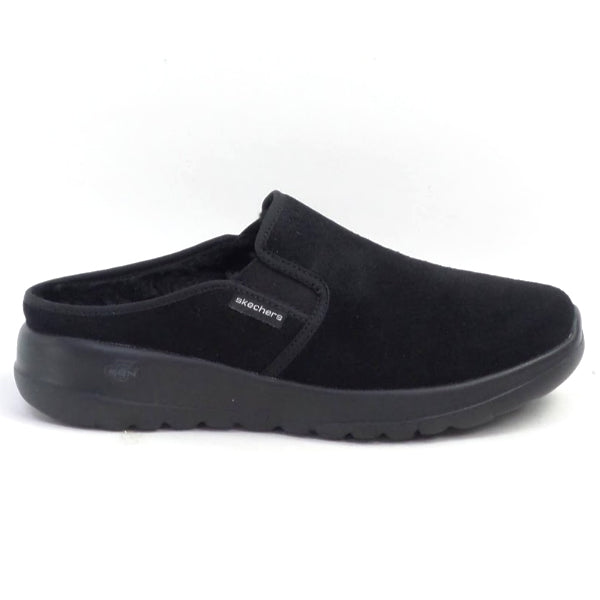 Skechers GOWalk Joy Water Repellant Suede Clogs Snuggly Black - NEW
