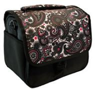 Designer DSLR Camera Bag w/Shoulder Strap E226678 Black Paisley - NEW