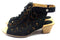 Earth Nubuck Leather Lace-Up Sandals Kristen Black - NEW