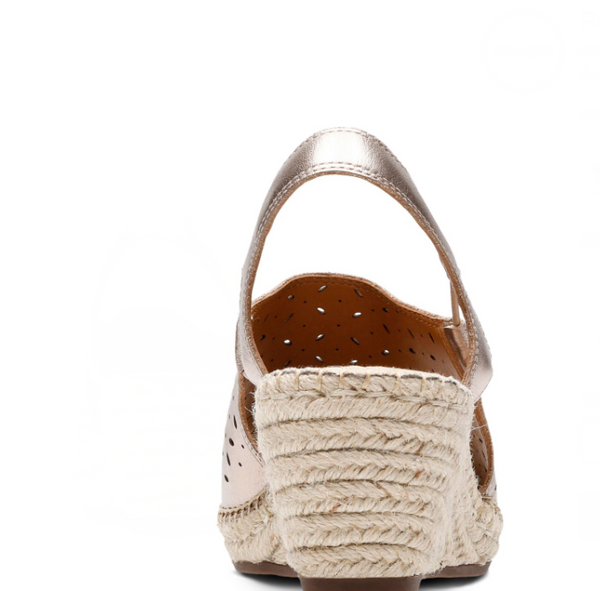 Clarks Artisan Leather Espadrille Wedge Sandals Petrina Gail Metallic - NEW