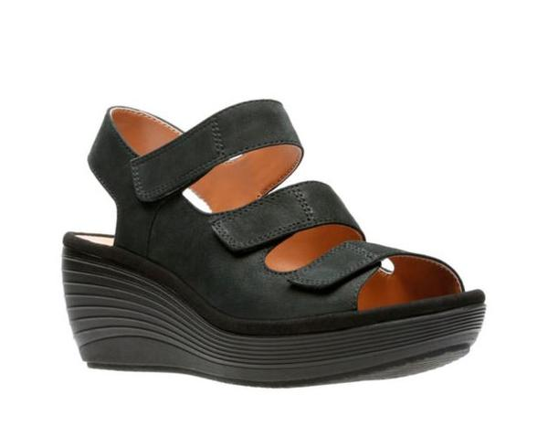 Clarks Collection Nubuck Wedge Sandals Reedly Juno Black - NEW