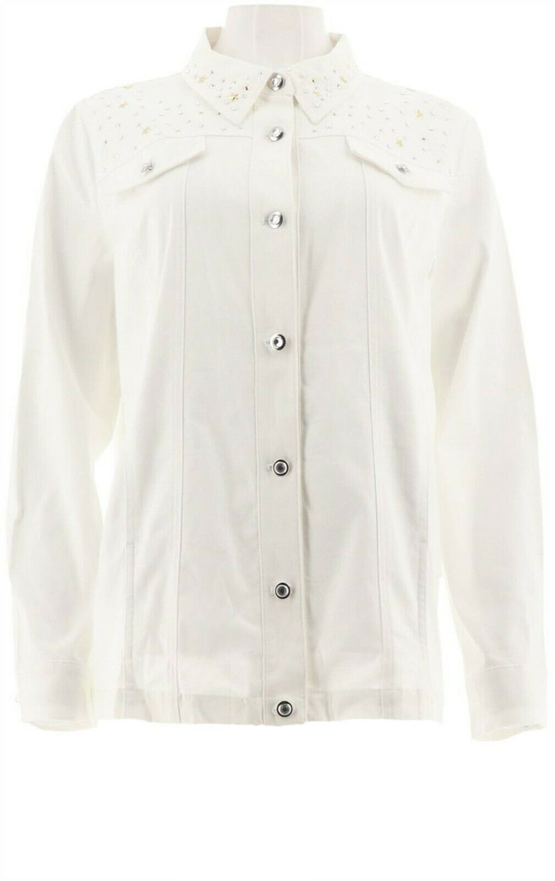 Quacker Factory Stars and Sparkle Woven Button Front Jacket White - NEW