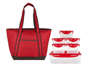 LocknLock Insulated Cooler Bag & 6-Piece Storage Set Red - NEW