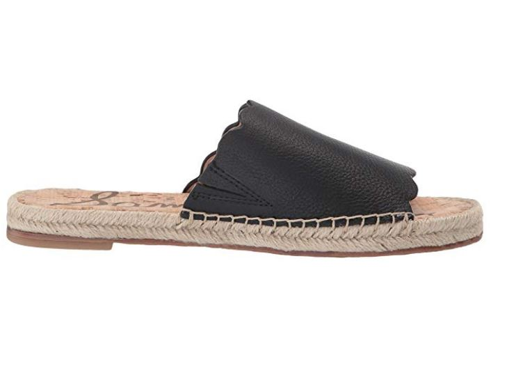 Sam Edelman Leather Espadrille Slide Sandals Andy Black - NEW