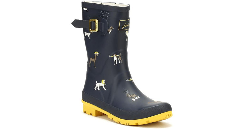 Joules Mid Rain Boots - Molly Welly Navy Rain Dogs - NEW