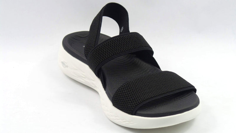 Skechers On The Go Gore Back Strap Sandals Flawless Black - NEW