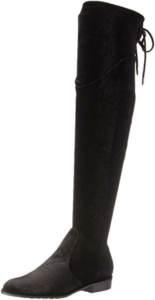 Marc Fisher Faux Velvet Over-the-Knee Boots Hulie Black - NEW