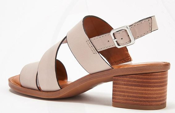Franco Sarto Leather Heeled Sandals w/ Asymmetrical Strap Lilah Light Grey - NEW