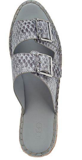 LOGO by Lori Goldstein Double Buckle Espadrille Sandals Grey/White Snake - NEW