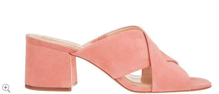 Vince Camuto Leather or Suede Cross Band Mules stania Fancy Flamingo - NEW