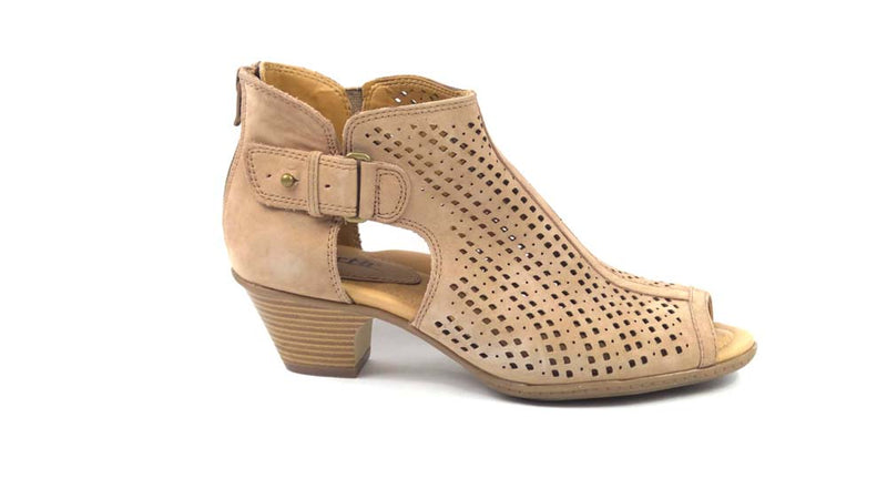 Earth Nubuck Perforated Peep-Toe Booties Keri Dusty Rose - NEW