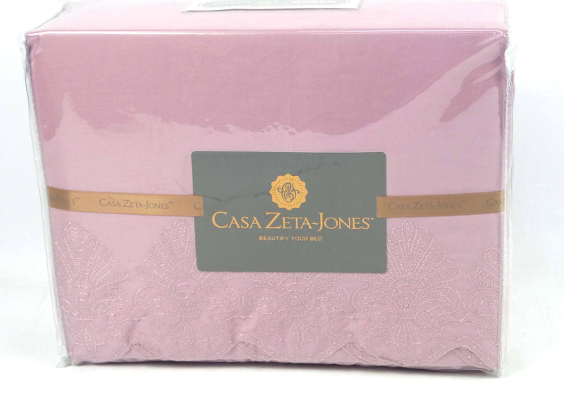 Casa Zeta-Jones 400TC Embroidered Lace Sheet Set Queen Ashes of Roses - NEW