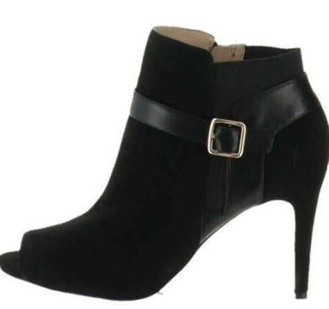 Marc Fisher Leather or Suede Peep-toe Ankle Boots Shimmee Black - A