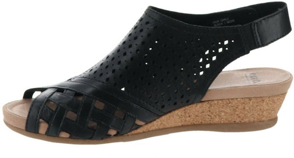 Earth Leather Perforated Wedge Sandals Pisa Galli Black - A