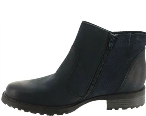Earth Vintage Leather Side Zip Ankle Boots Jordan Navy - A