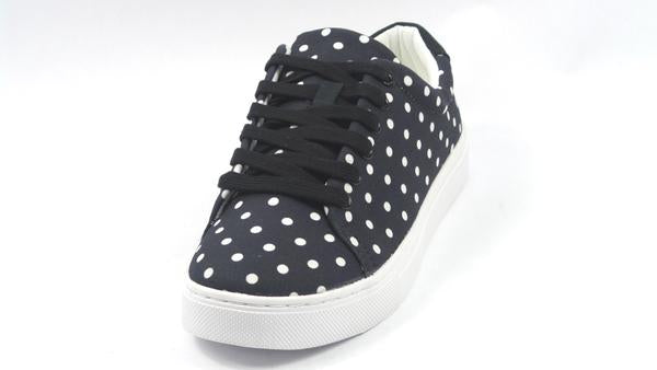Isaac Mizrahi Live! Lace-Up Polka Dot Sneakers Black - NEW
