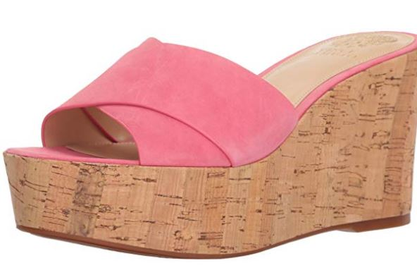 Vince Camuto Cross Band Wedges Kessina Soft Pink - NEW