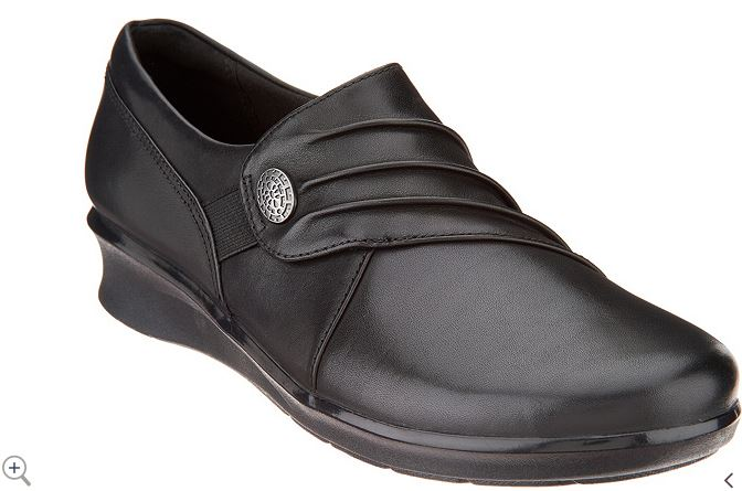 Clarks Leather Slip-On Shoes Hope Roxanne Black - NEW