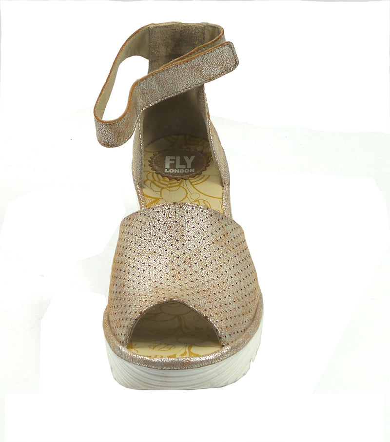 FLY London Perforated Leather Wedge Sandals Yake Pearl - NEW