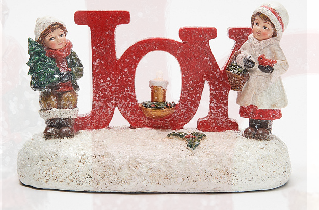Illuminated Joy Figure with Vintage Children by Valerie - A