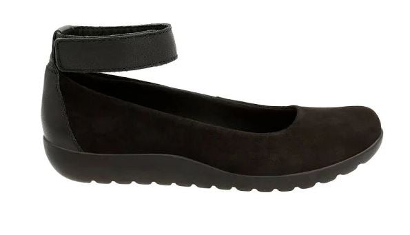 Clarks Collection Nubuck Leather Slip-on Shoes Medora Nina Black - NEW