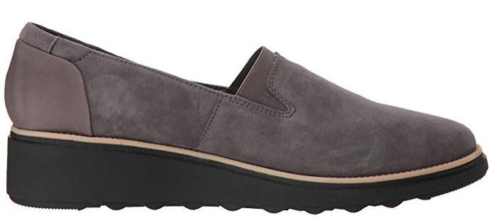 Clarks Collection Suede Slip On Loafers Sharon Dolly Grey - NEW