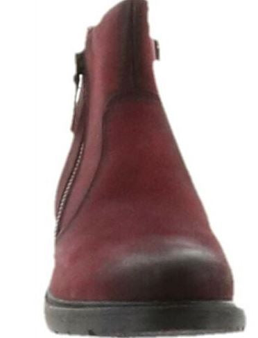Earth Vintage Leather Side Zip Ankle Boots Jordan Wine - A
