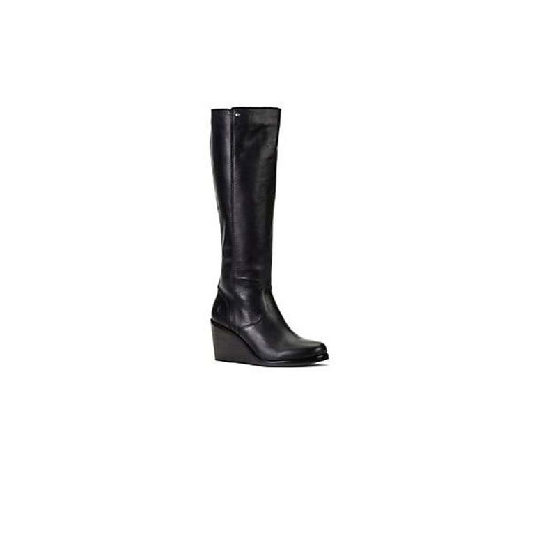 Frye Leather Tall Shaft Wedge Boots Emma Wedge Black - A