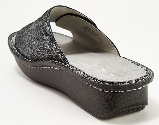 Alegria Leather Printed Slide Sandals Kylee Chirpy Pewter - NEW