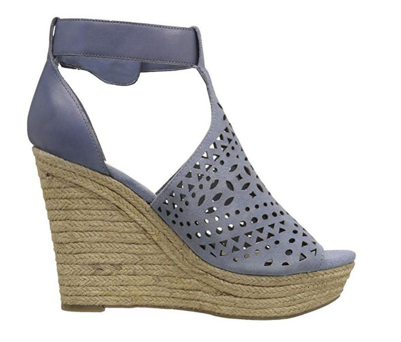 Marc Fisher Perforated Suede Wedges Hasina Light Blue - A