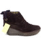 FLY London Suede Ruched Ankle Boots with Tie Detail Yebi Espresso - A