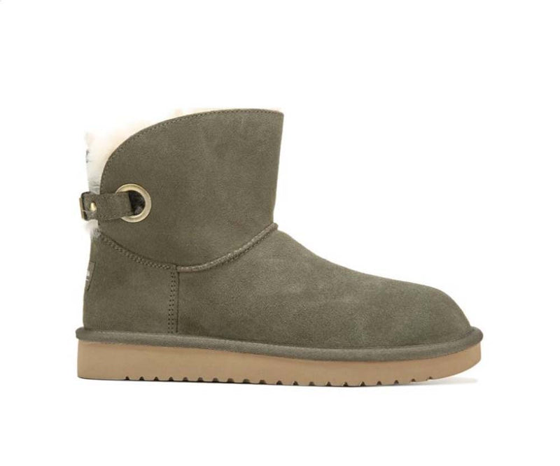 Koolaburra by UGG Suede Buckle Short Boots Remley Dusty Olive  - NEW