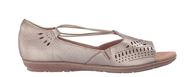 Earth Leather Perforated Slip-on Sandals Wash Gold - A