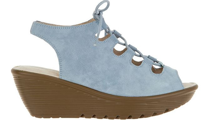 Skechers Suede Lace-Up Peep-Toe Wedges Light Grey - A