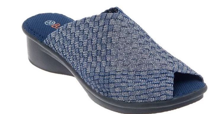 Bernie Mev Basket Weave Peep-Toe Wedge Sandals Cyrene Navy Shimmer - NEW