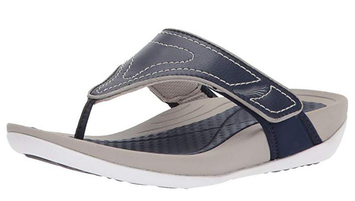 Dansko Leather Adjustable Thong Sandals Katy Navy - A