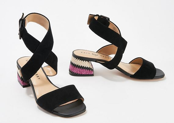 Katy Perry Ankle Strap Heeled Sandals The Albee Black - NEW