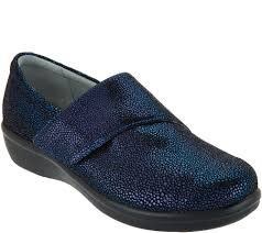 Alegria Printed Nubuck Slip-On Shoes with Cross Strap Lauryn Cosmos - A