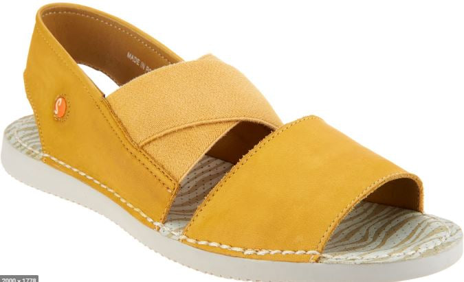 Softinos by FLY London Cross-band Sandals Tin Yellow - NEW