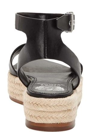Vince Camuto Leather Ankle Strap Espadrilles Kathalia Black - NEW