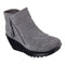 Skechers Ruched Suede Wedge Boots Parallel Universe Charcoal - NEW