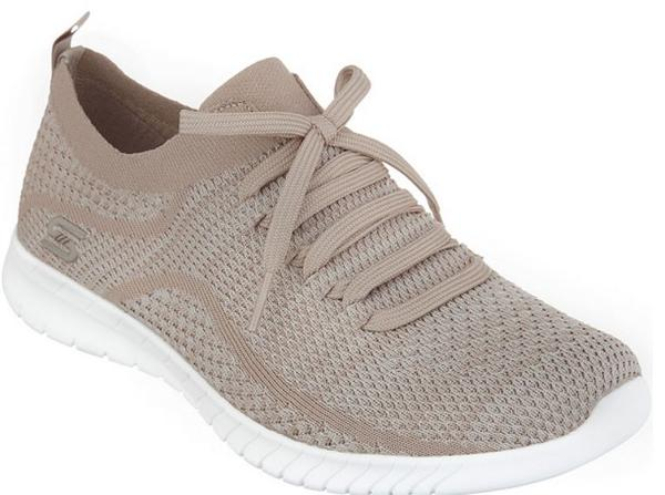 Skechers Faux Lace Stretch Knit Slip-On Sneakers Taupe - NEW