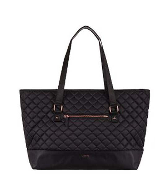 Lodis Quilted Nylon Laptop Tote Bag Black/Red - NEW