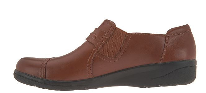 Clarks Collection Leather Slip-on Shoes Cheyn Madi Tan - NEW