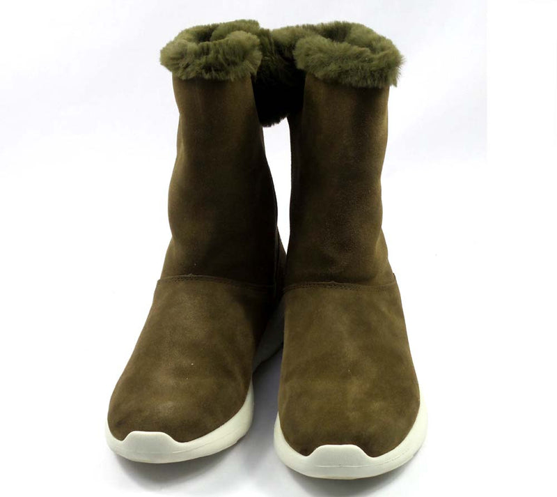 Skechers GOwalk Suede and Faux Fur Boots Stunning Olive - A